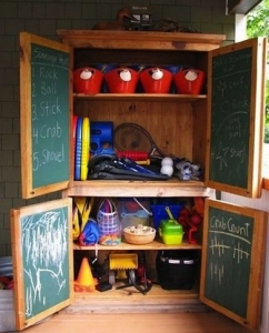 Armoire turned kids storage